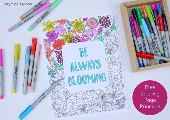 Free-Printable Coloring-Pages-for-Adults-Be-Always-Blooming