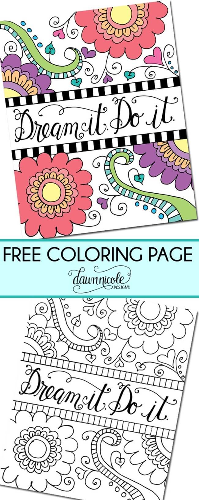 Free-Printable Coloring-Pages-for-Adults-Dream-It
