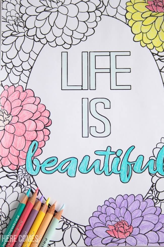 Free-Printable Coloring-Pages-for-Adults-Life-is-Beautiful