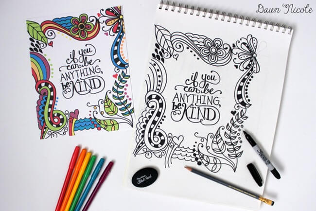 Free-Printable Coloring-Pages-for-Adults-be-kind